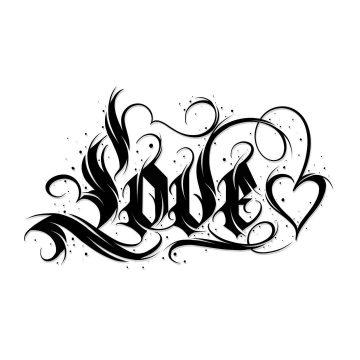 Calligraphie black « Love » & cœur