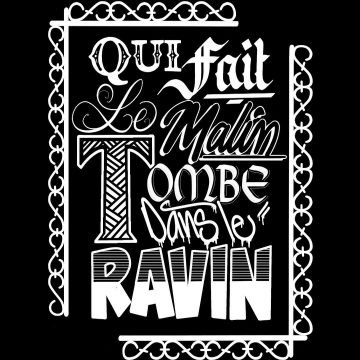 """Calligraphie """"Qui fait le malin tombe dans le ravin"""""""