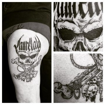"Tatouage Crâne & calligraphie ""Laurelaly"""