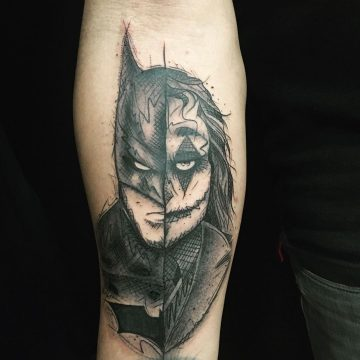 Tatouage dual-face Batman / Joker