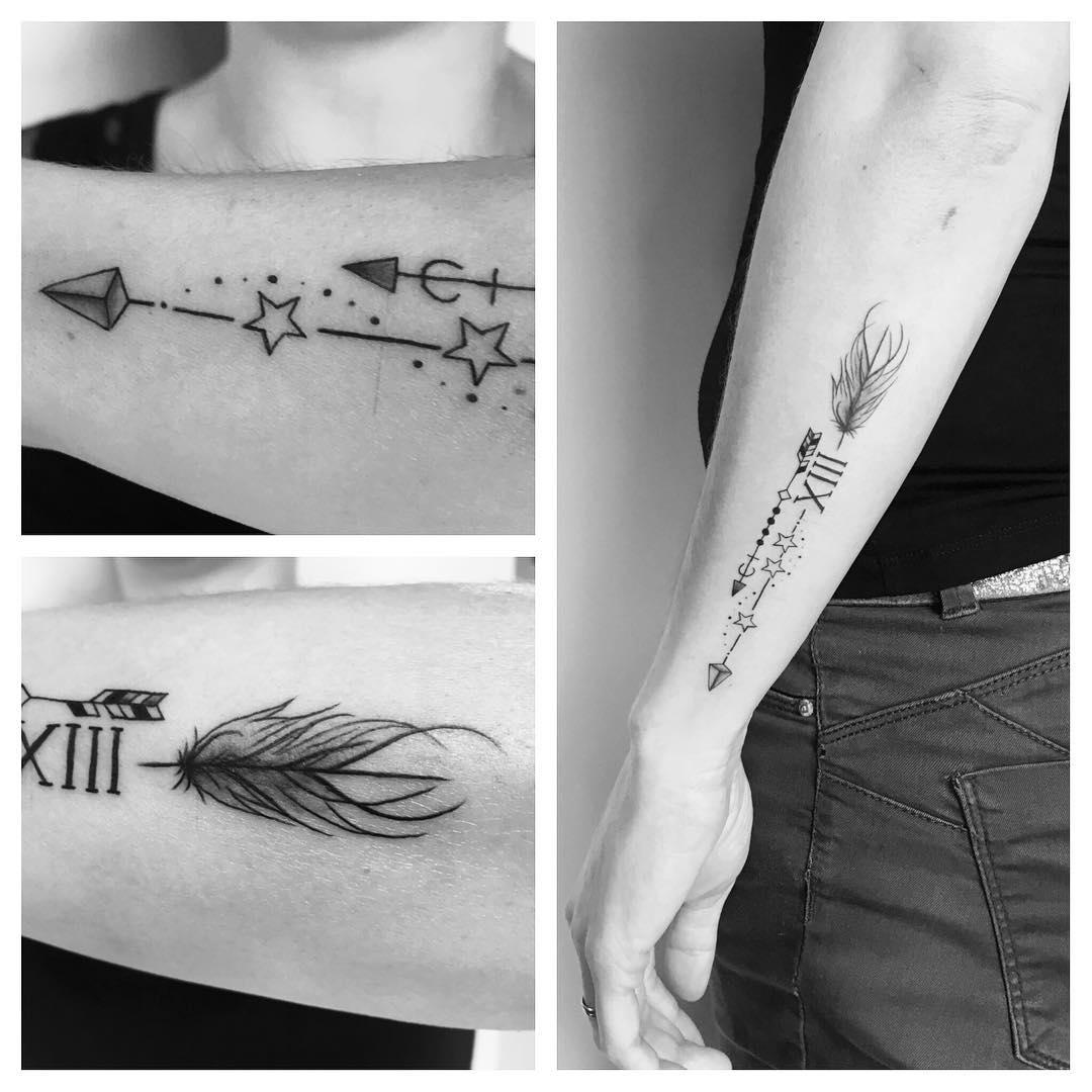 Tatouage Flèche & plume à hautes symboliques