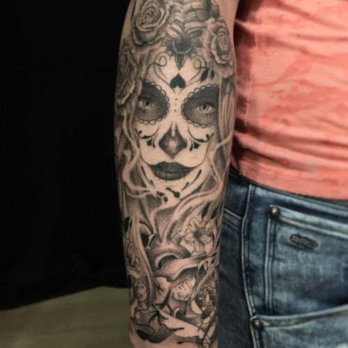Tatouage Santa Muerte & corbeau