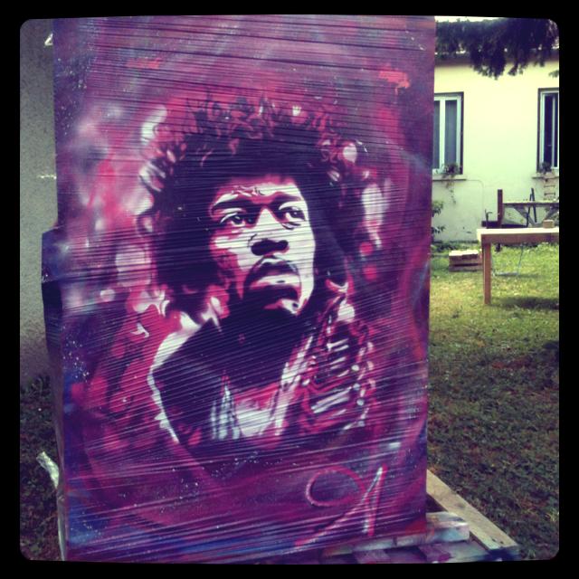 Peinture Jimmy Hendrix sur bâche