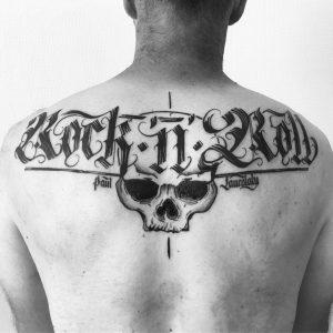 "Tatouage crâne ""Rock 'n' Roll"""