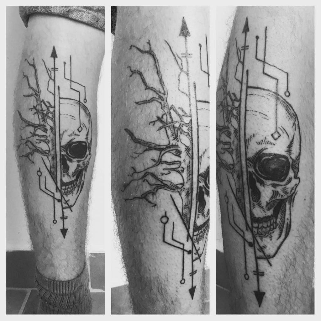 Tatouage Crâne-arbre