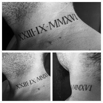 Tatouage Calligraphie romaine « XXIII-IX-MMXVI »