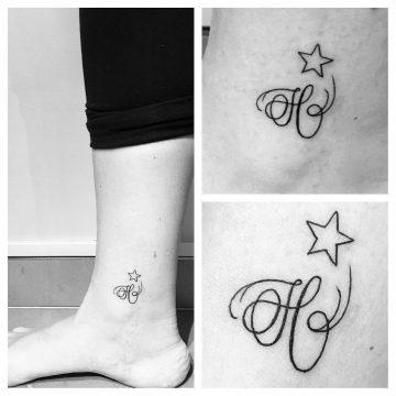 """Tatouage """"H"""" & étoile"""