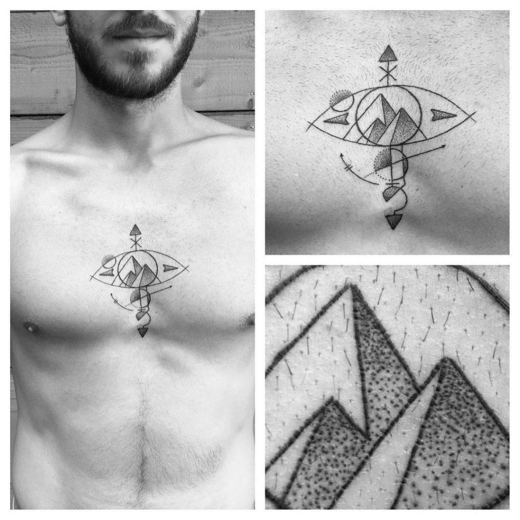 Tatouage Dans l\u0027œil de la montagne · Fond Noir Tattoo
