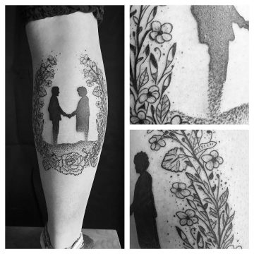 Tatouage silhouettes & fleurs