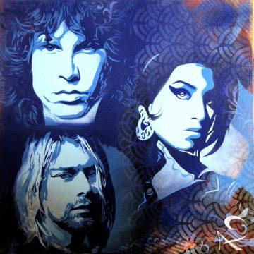 Peinture tryptique Jim Morrison, Kurt Cobain & Amy Winehouse