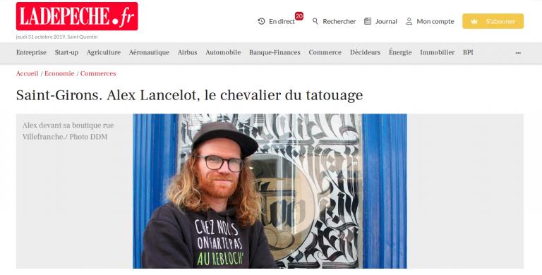 « Alex Lancelot, le chevalier du tatouage », La Dépêche du 29/09/2019